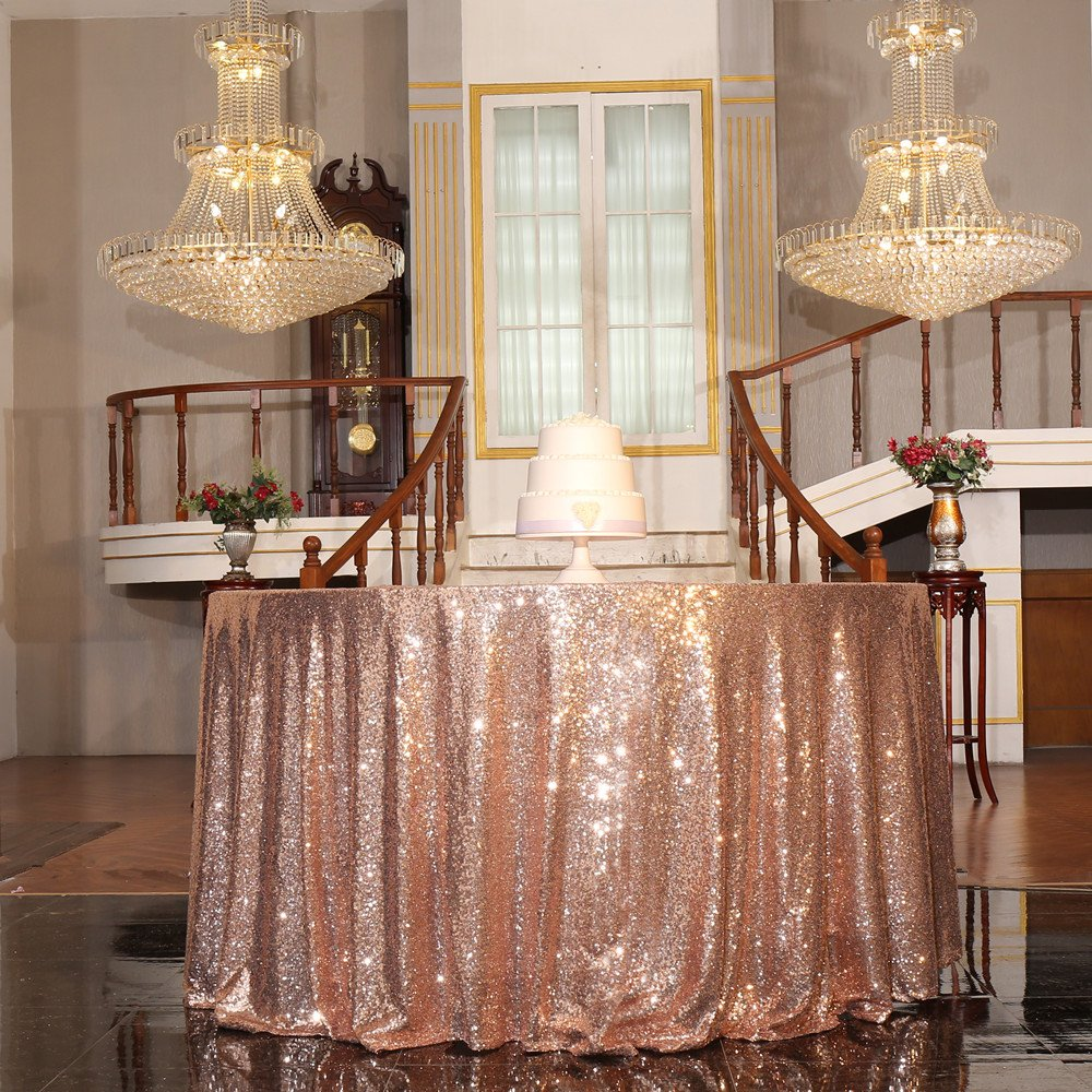 PartyDelight Sequin Tablecloth, Christmas Tree Skirt, Round, 50'', Rose Gold