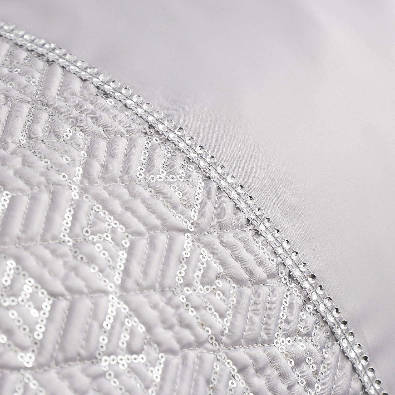 Set de fundas para edred/ón Extragrande Plateado Ribete con diamantes de lentejuelas