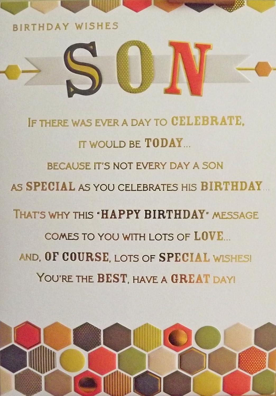 Large Sized Gold Orange Birthday Wishes Son Birthday Greetings