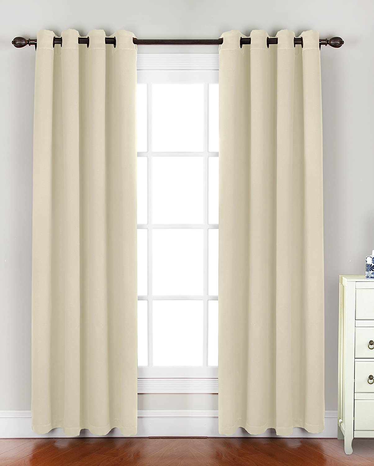 All American Collection New 2 Panel Solid Woven 99% Guarantee Blackout Curtain Set Beige