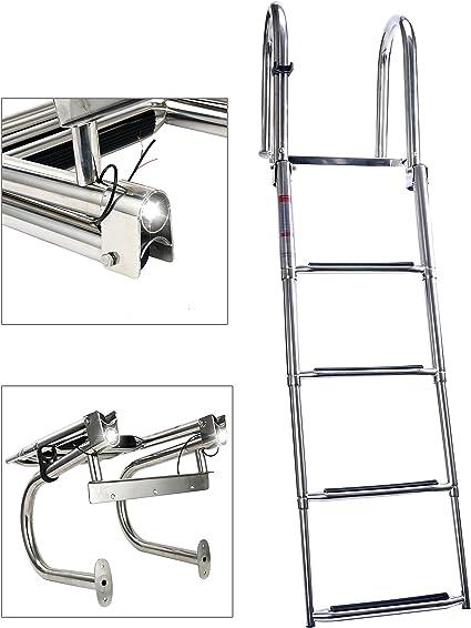 316 Stainless Steel Boat 4 Step Folding Ladder  2+2 Steps Yacht//Pontoon Ladder