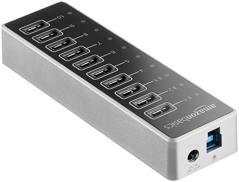 Negro Hub de 10 puertos USB C 3.1 con adaptador de corriente 65 W Basics 20 V//3,25 A