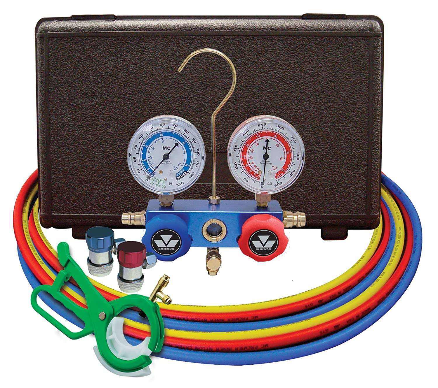 Mastercool (98661-PRO) Blue R134A and R-12 Dual Manifold Gauge Set with 60' Hose