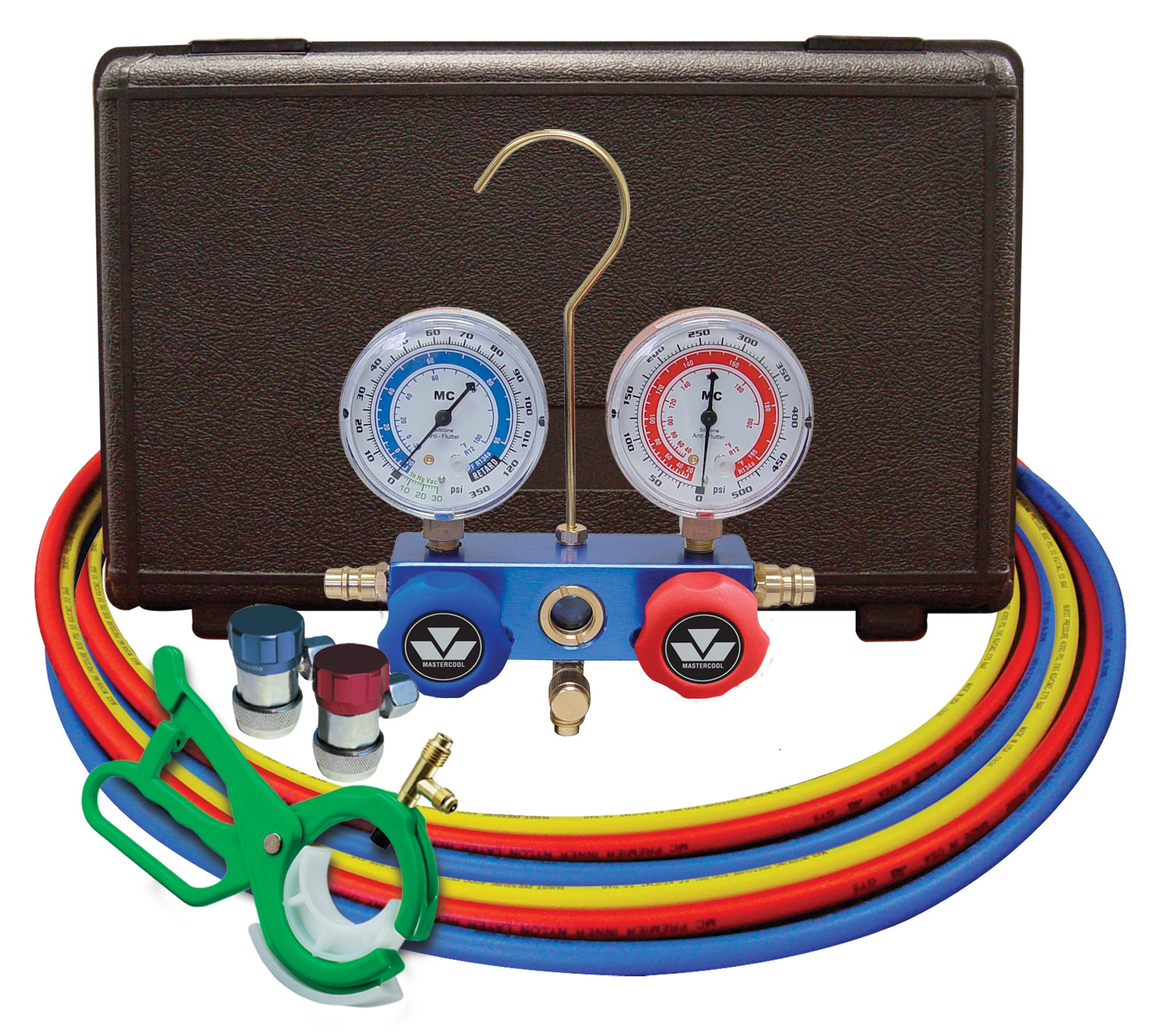 MASTERCOOL (98661-PRO Blue R134A and R-12 Dual Manifold Gauge Set with 60'' Hose