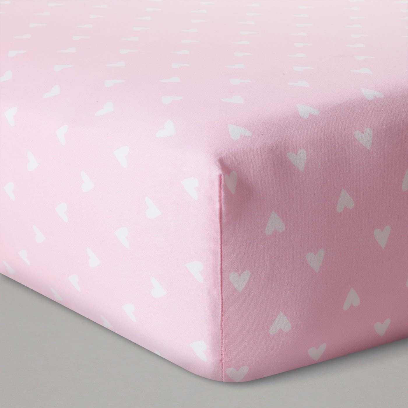 Baby Sheet - Fitted Crib Sheet - Pink Hearts - Soft, breathable cotton and OEKO-TEX certified