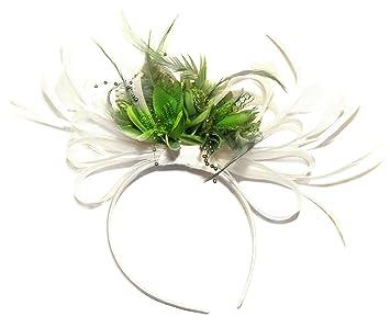 White and Green Net Hoop Feather Hair Fascinator Headband Wedding Royal  Ascot Races 188cb27ec50