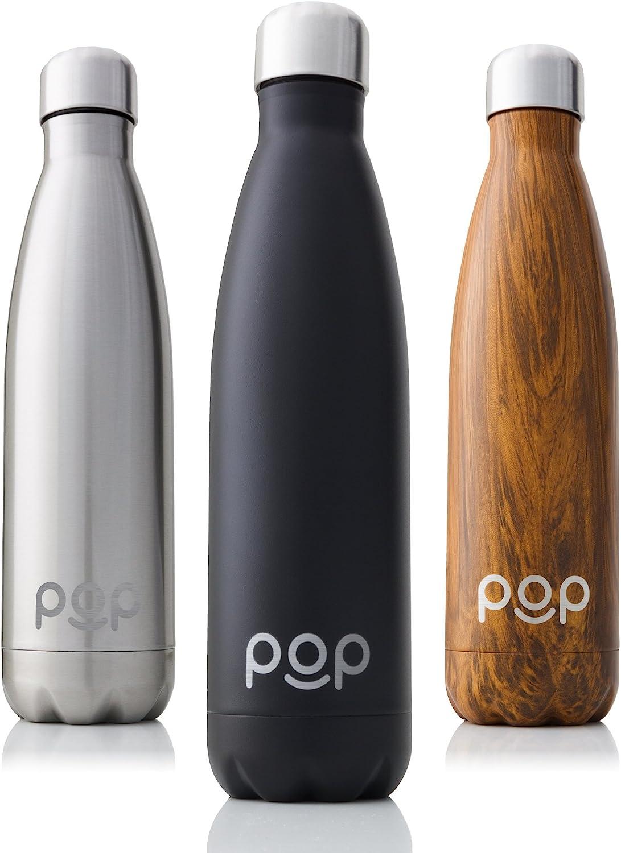 POP Design Botella de Agua, Mantiene Bebidas frías por 24h y Calientes por 12h, Acero Inoxidable con Aislamiento en vacío, Tapón Anti Goteo y Anti Sudor, Boquilla Estrecha y Libre de BPA