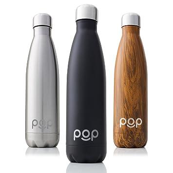 POP Botella de Agua Design | Mantiene Bebidas frías por 24h y Calientes por 12h. | Acero Inoxidable con Aislamiento en vacío | Tapón Anti Goteo y Anti ...