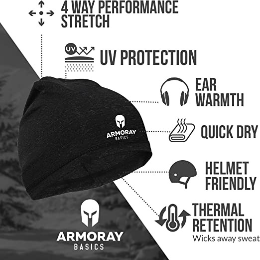 5 Running Hat Beanie for Men or Women ARMORAY Skull Cap Fits Under Helmets Perfect for Cold Weather Waterproof Ski Cap