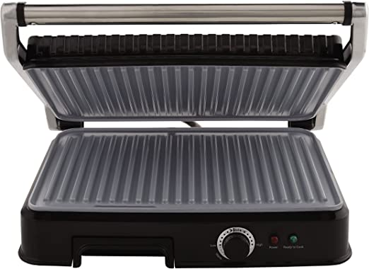 Oster Extra Large Titanium-Infused DuraCeramic Panini Maker and Indoor Grill, Black (CKSTPM6001-TECO)