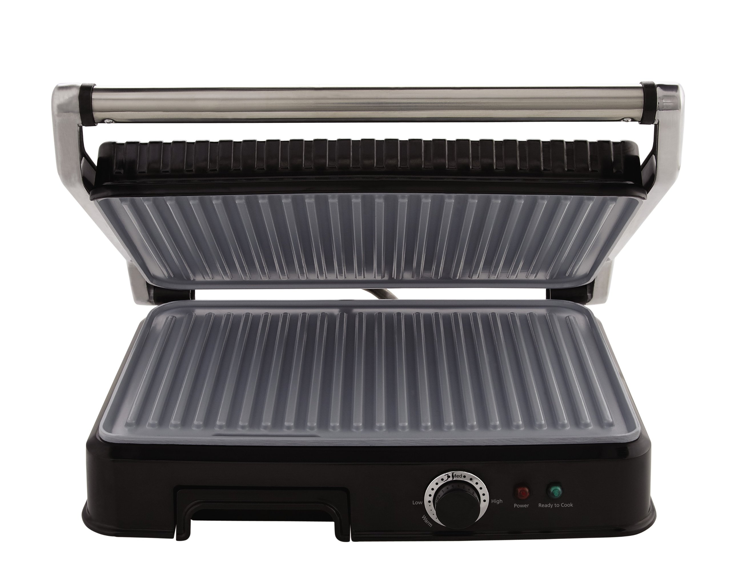 Oster Extra Large Titanium-Infused DuraCeramic Panini Maker and Indoor Grill, Black (CKSTPM6001-TECO) by Oster