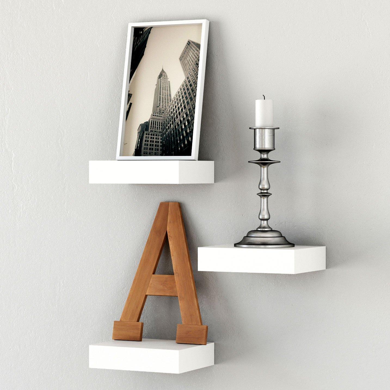 Brightmaison Showcase Wall Display Shelf Modern Glossy Each Floating Ledge Shelf (White)