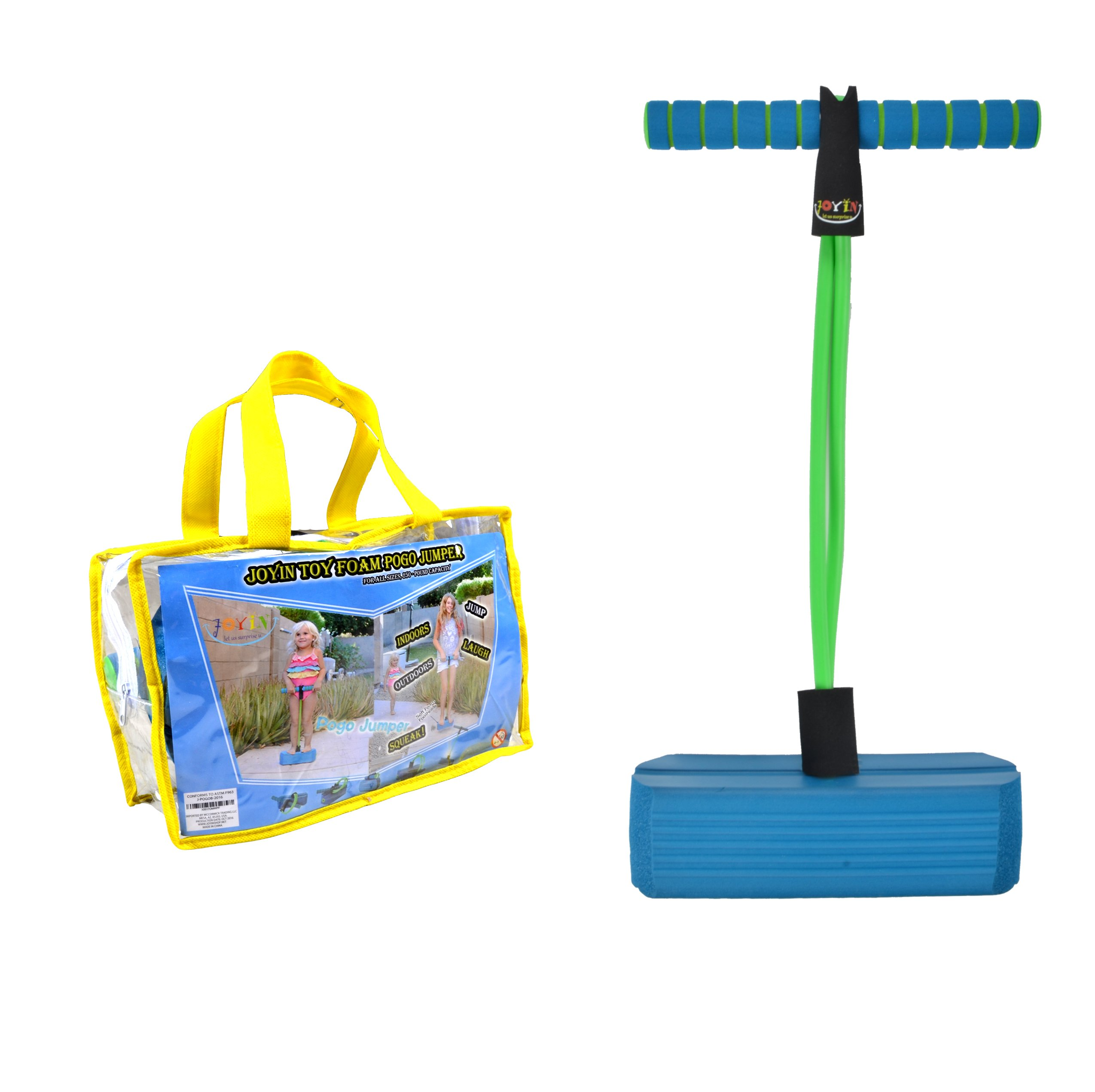 Joyin Toy Foam Pogo Jumper in Easy to Carry Zippered Bag- Safe and Fun Pogo Stick for All, 250 Pound Capacity (blue) by Joyin Toy