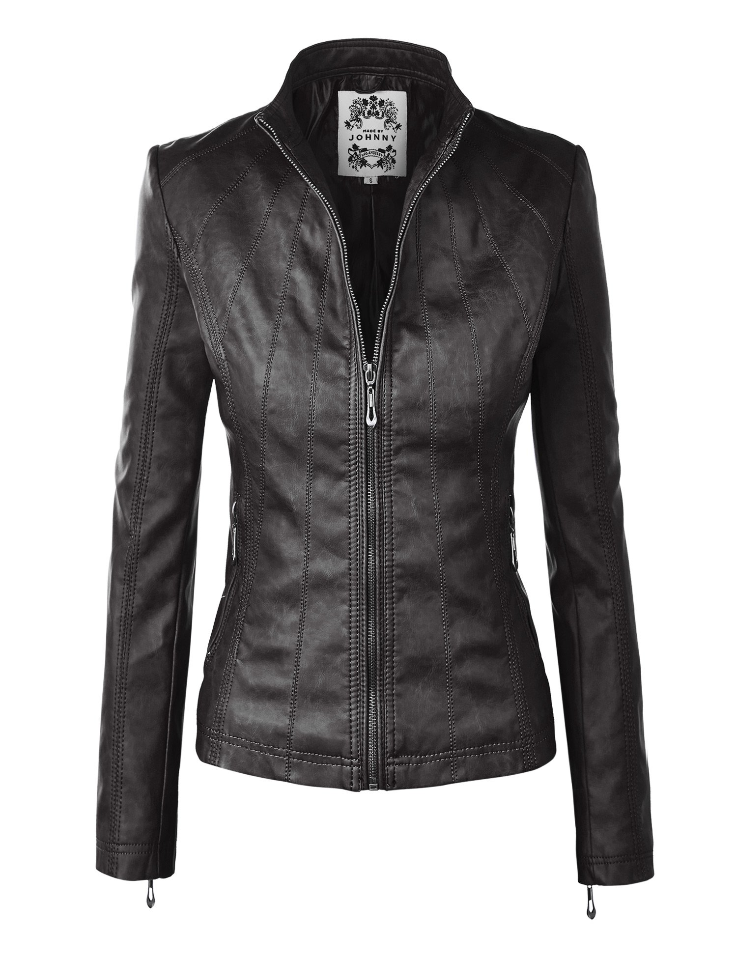 Made By Johnny MBJ WJC877 Womens Panelled Faux Leather Moto Jacket S Black
