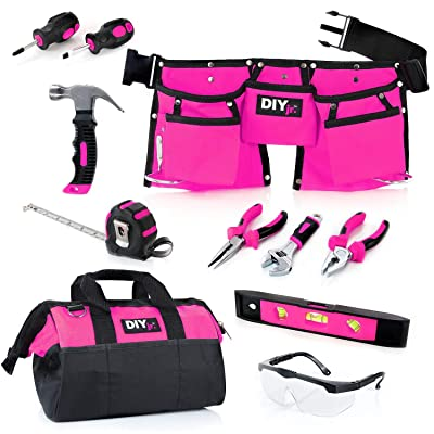 DIY jr My First Tool Set - Pink Real Tool Set for Kids Pink Tools for Girls Toolbelt Child-Sized Tools Complete Tool Set for Girls Tools for Small Hands: Toys & Games