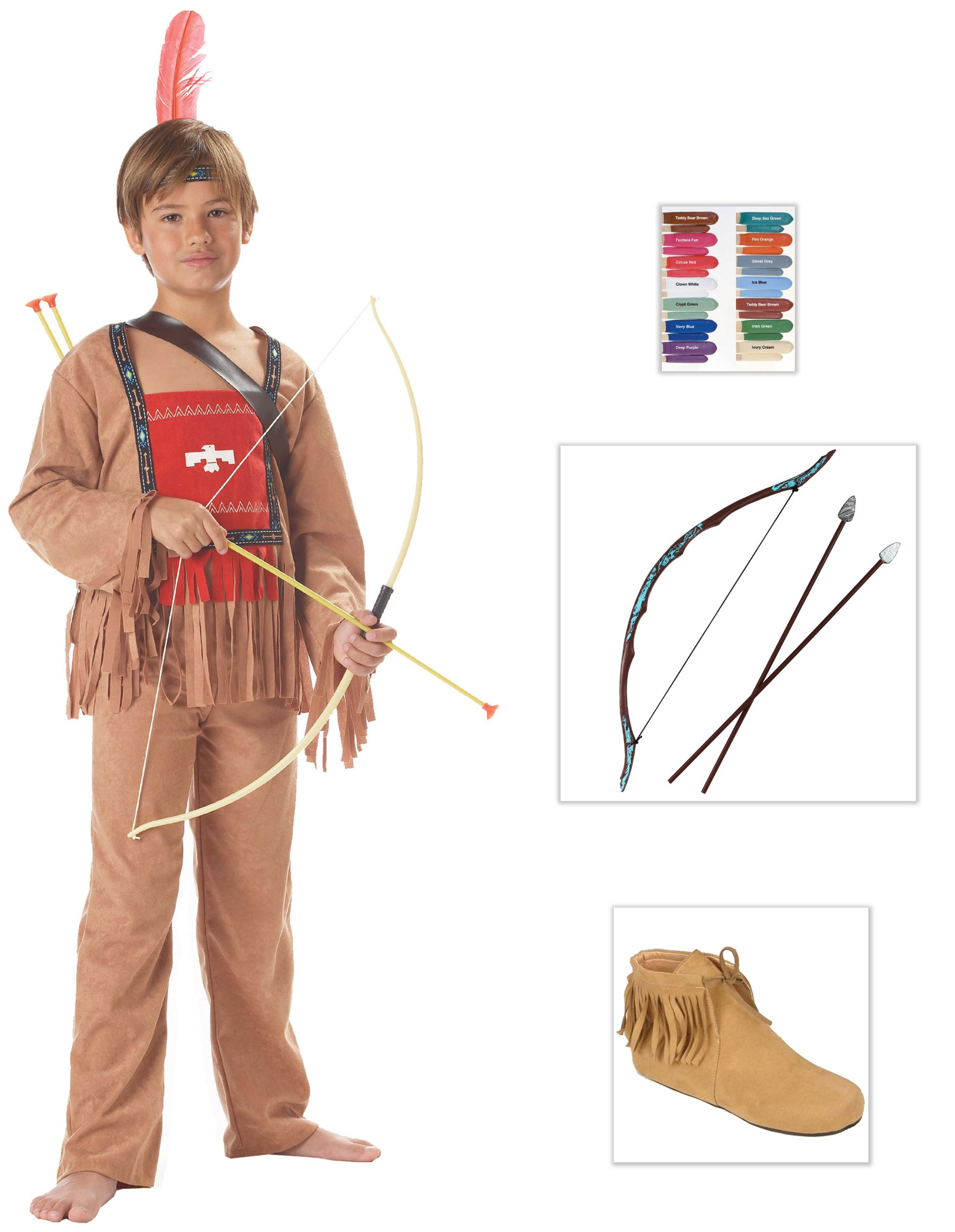 Running Bull Child Costume, Boots in S (11-12), Disguise Stix and Bow-Arrow Set