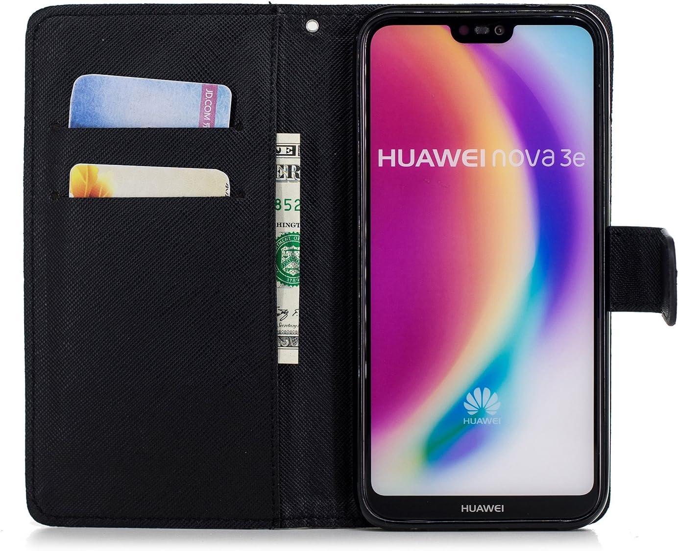 Daisy Huawei P20 Lite Coque Dragonne Portefeuille PU Etui TPU Bumper Case Carols Coque Huawei P20 Lite