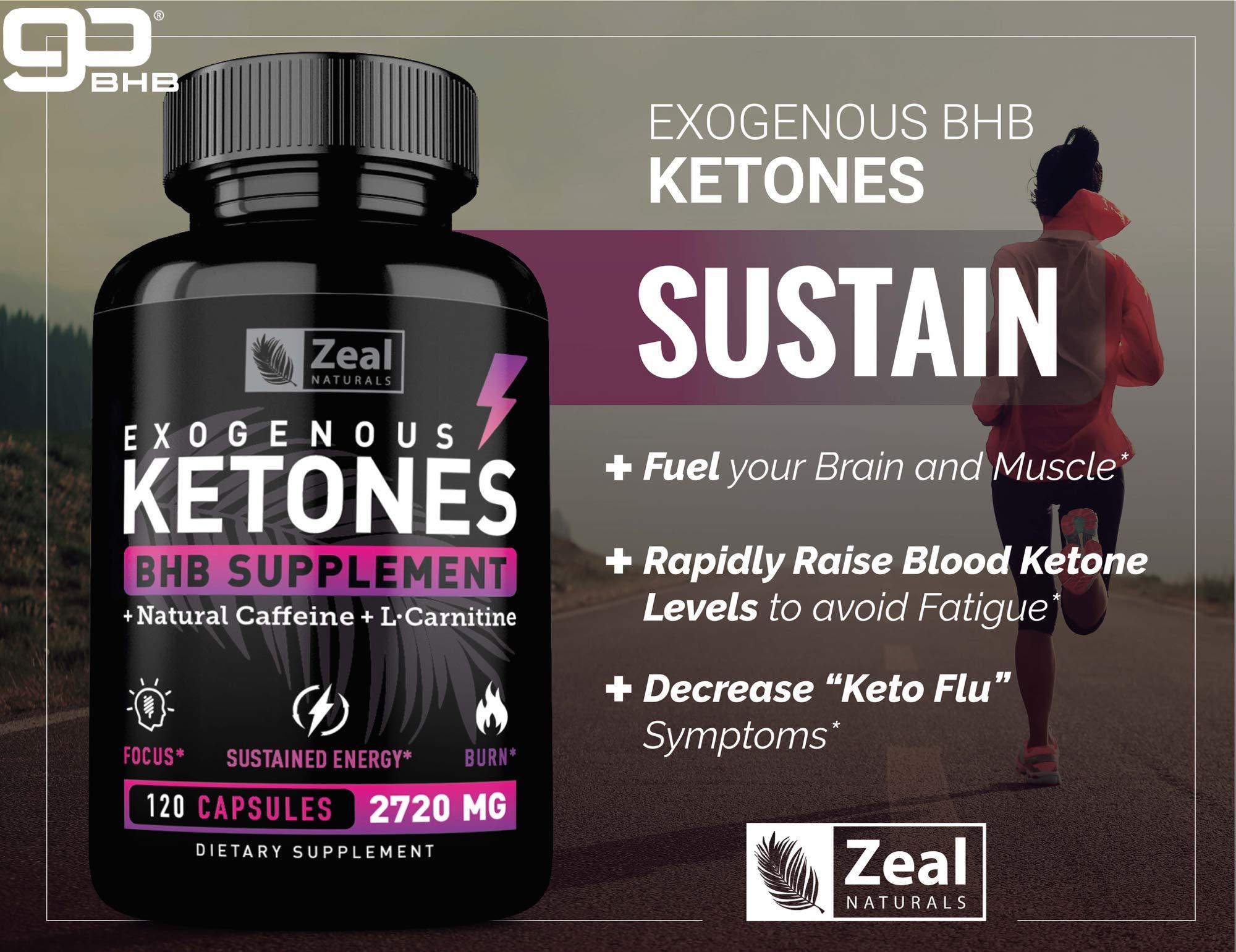 Keto BHB Exogenous Ketones Pills (2720mg | 120 Capsules) Keto Pills w. goBHB Salts, Natural Caffeine & L-Carnitine - Keto BHB Oil Capsules Beta Hydroxybutyrate for Weight Loss Keto Vitamins Keto Salts by Zeal Naturals (Image #5)