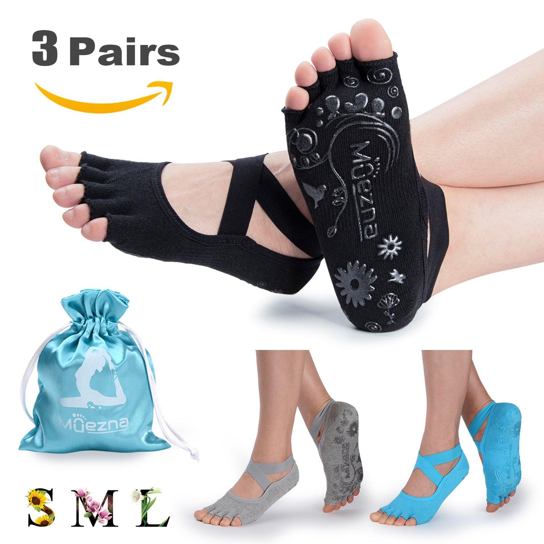 Muezna Non Slip Yoga Socks for Women, Toeless Anti-skid Grip Pilates, Barre, Ballet, Bikram Workout Socks with Cotton, 3 Pack