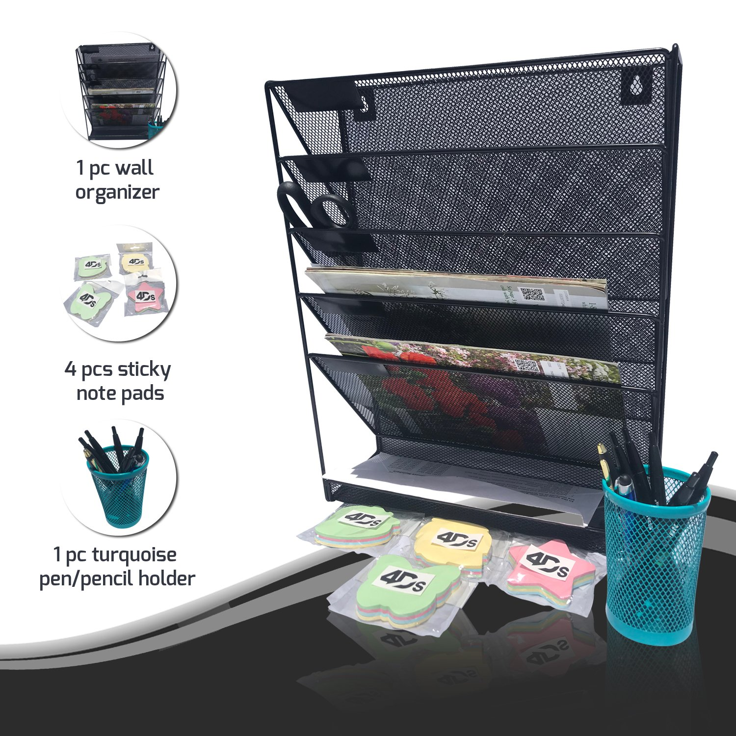 Metal Mesh Wall Organizer File Holder with Post it Sticky Note Pad and Pencil Pen Office Desk Tray to Mount Hanging Folder Paper Multiple Compartment Vertical Magazine Rack Bundle Pack