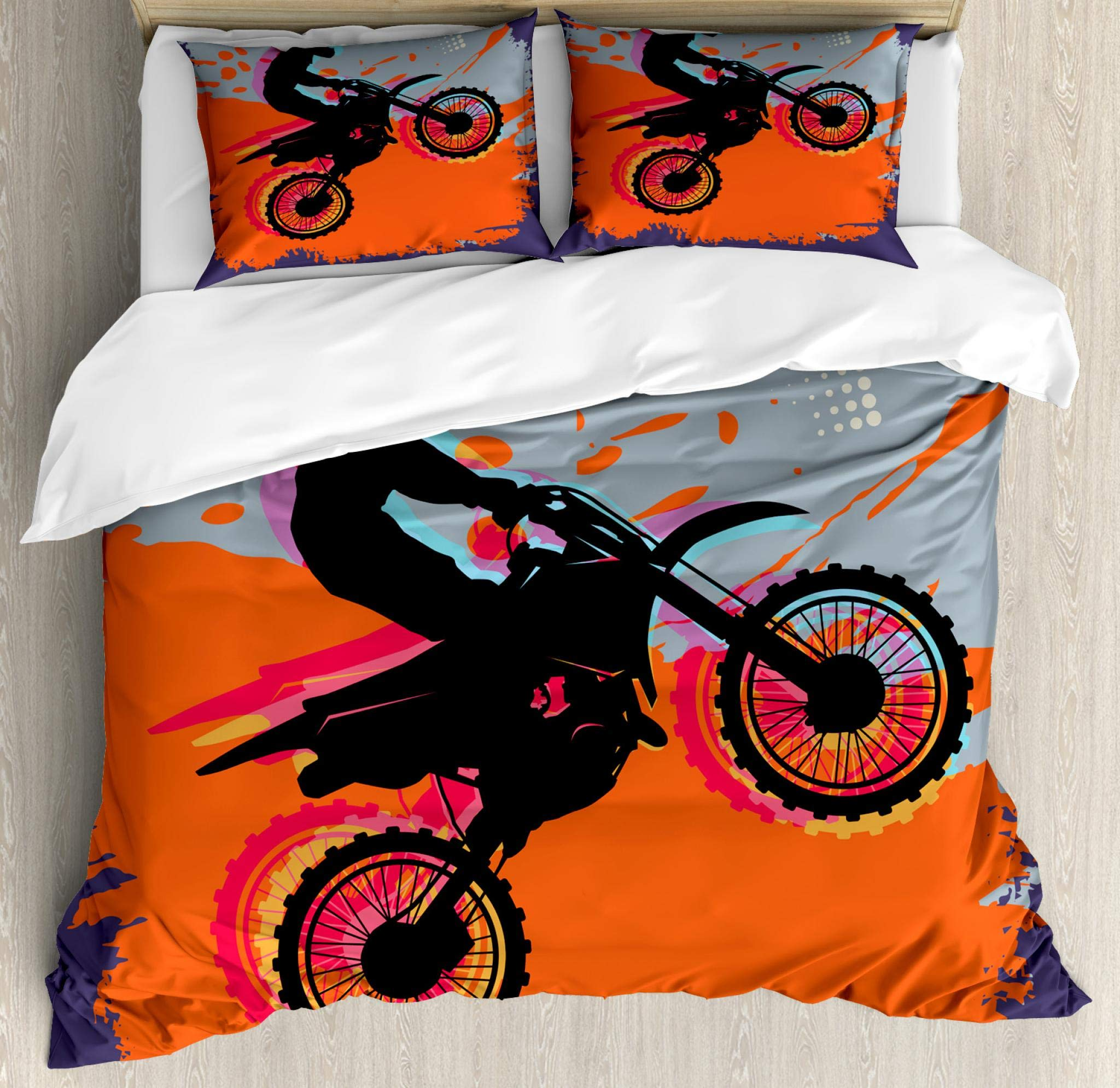Lunarable Dirt Bike Duvet Cover Set Queen Size, Grunge Composition of a Biker in a Stunt Move Cross Country Tournament Theme, Decorative 3 Piece Bedding Set with 2 Pillow Shams, Multicolor