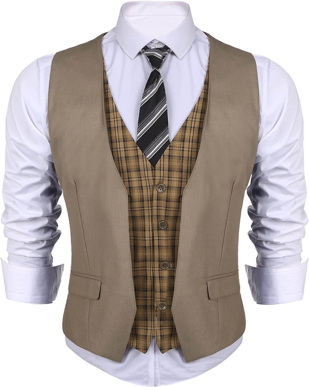 JINIDU Men's Suit Vest V Neck Skinny Layered Plaid Dress Business Wedding Waistcoat Vest