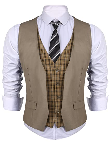 GILET UOMO A QUADRI SLIM FIT