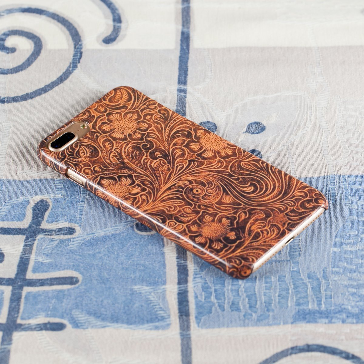 Slim Case for iPhone 7 Plus, 8 Plus. Tooled Leather Look.