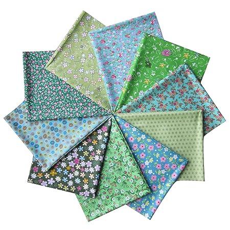 7pcs DIY Squares Pre Cut Charm Cotton Quilt Fabric Fat Quarters Bundles 25x25cm