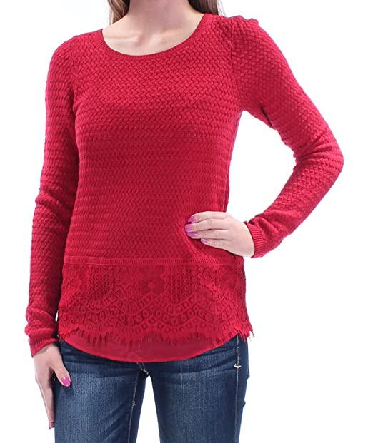 9d241316aa892 Image Unavailable. Image not available for. Color  Lucky Brand Womens Lace  Trim Crochet Pullover ...