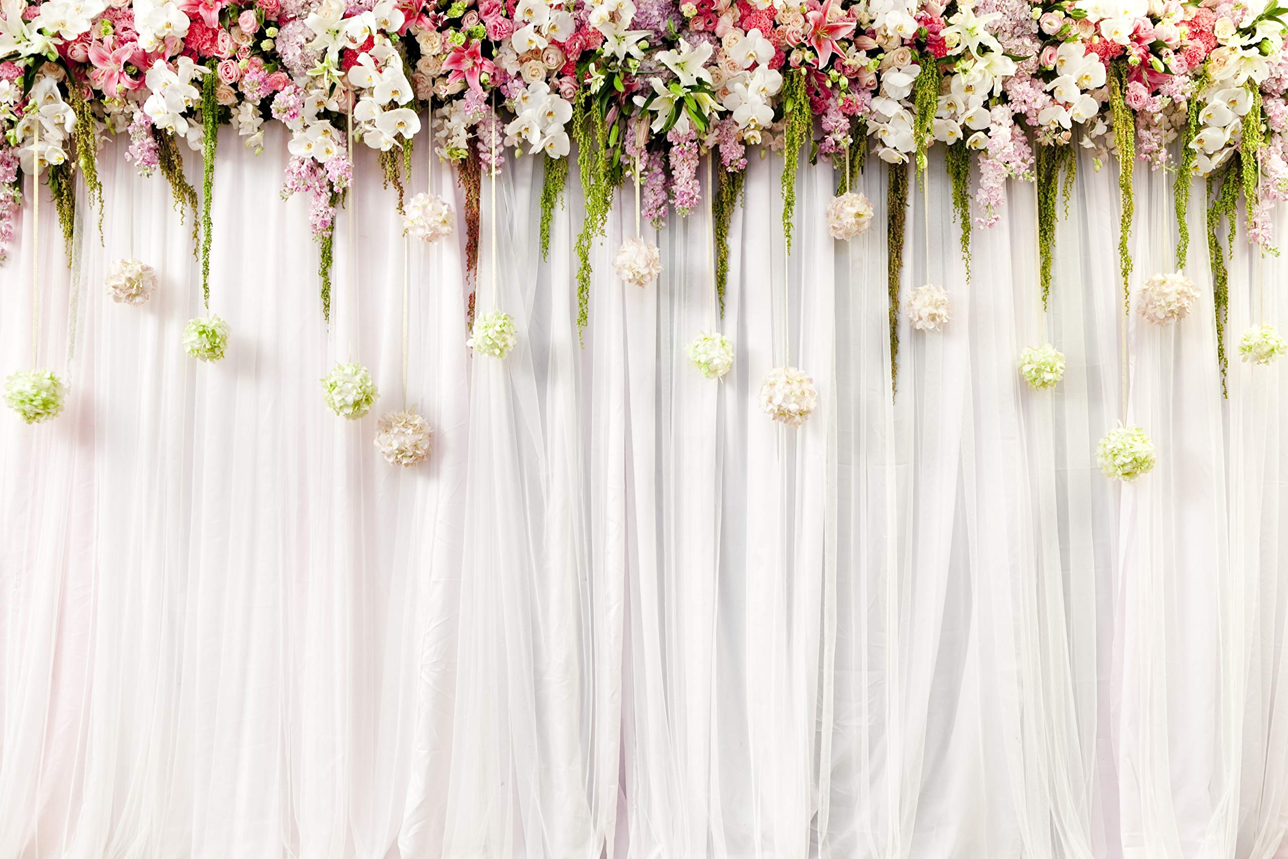 Wedding Flower Curtain Backdrop Chic Romantic Wedding Stage Scene Step and Repeat Party White Printed Fabric Photography Background (G0559, 12' Wide by 8' Tall)