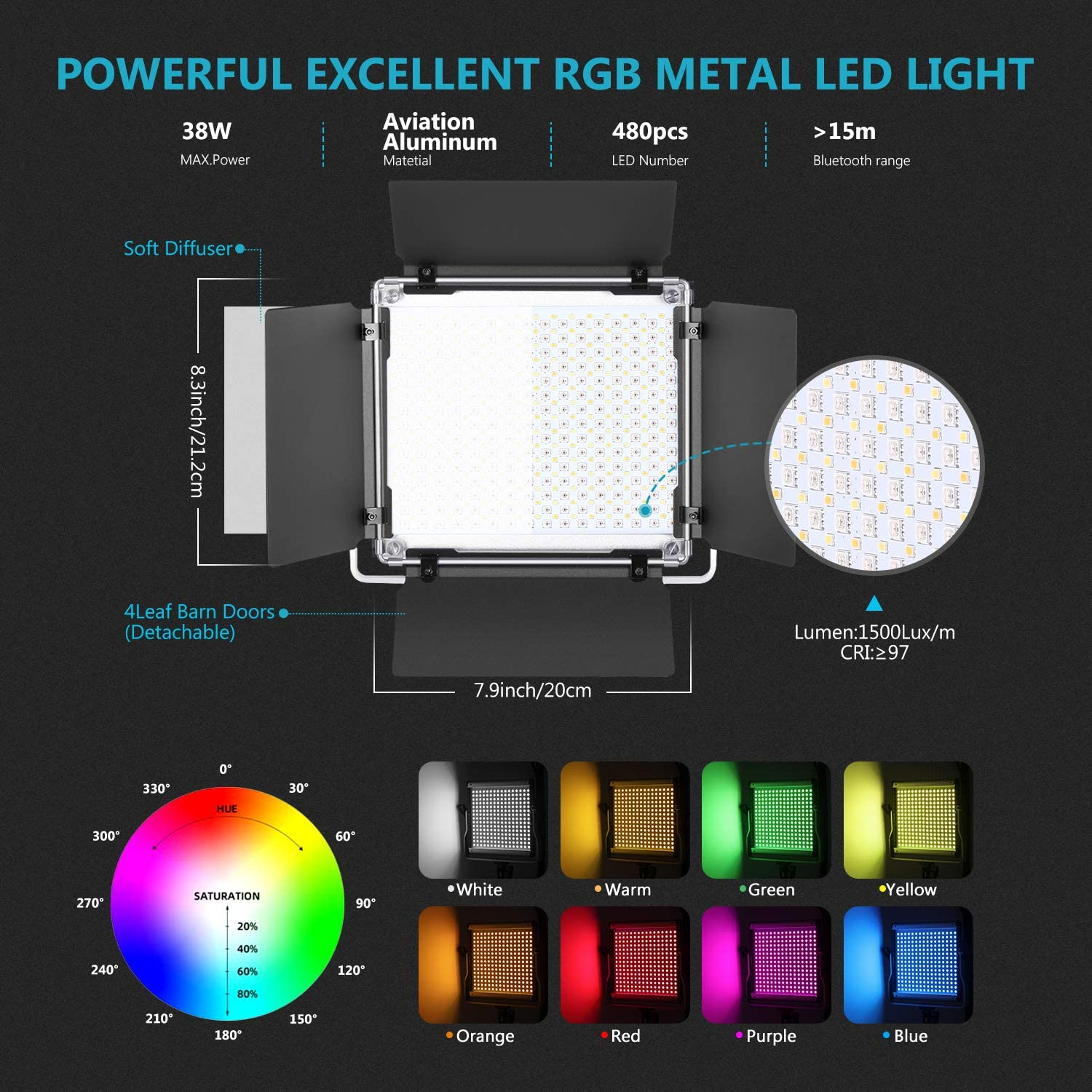 Neewer 2 Packs 480 RGB Led Light with APP Control 480 SMD LEDs CRI95//3200K-5600K//Brightness 0-100/%//0-360 Adjustable Colors//9 Applicable Scenes Photography Video Lighting Kit with Stands and Softbox