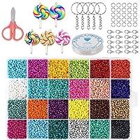 DWcouple Abalorios para Hacer Pulseras, 3 mm 24 Colores Perlas de Vidrio Perlas de Potro Mini Cuentas para Collares…