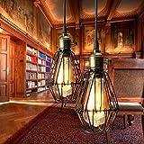 KINGSO E27 Lampe Suspension Lustre Cage en fer Abat-jour avec Douille Eclairage de Plafond Style Industrielle Vintage Retro(sans ampoule)