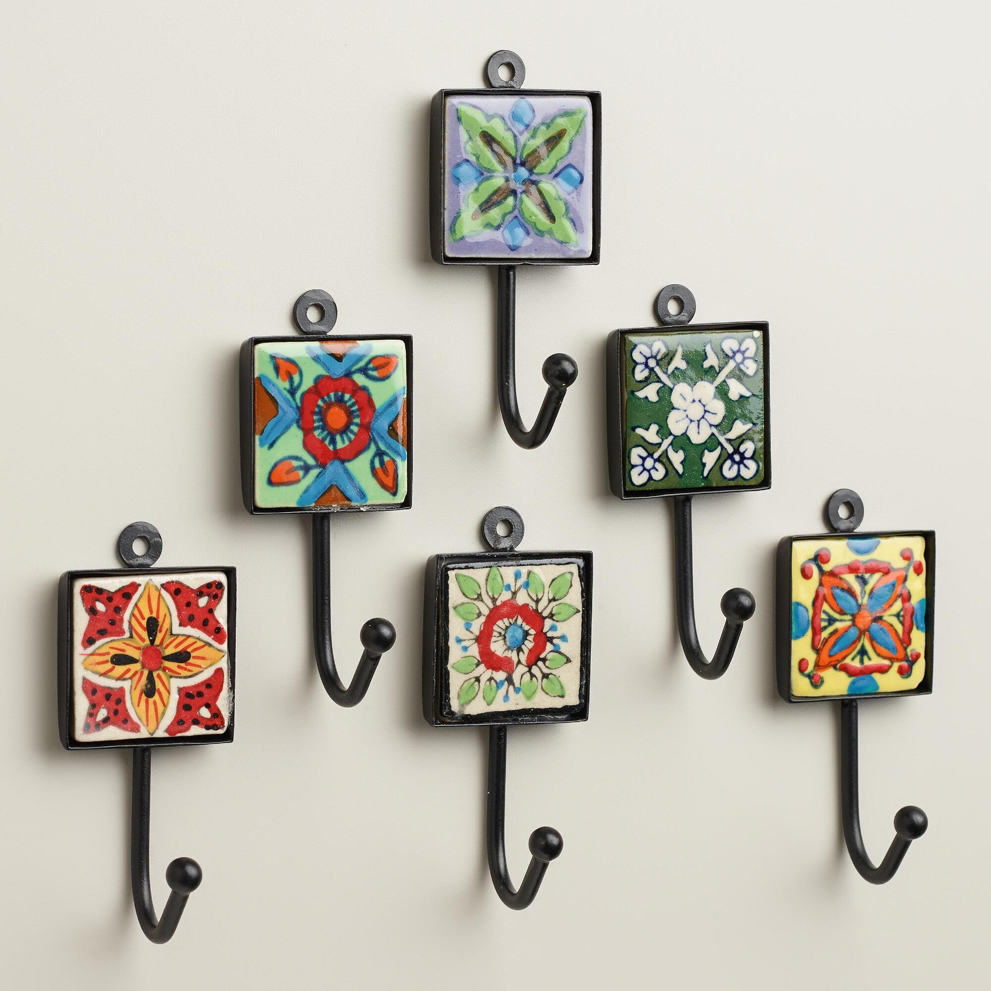 Painted Square Tile Hooks, Set of 6 3.5''W x 1.5''L x 1.25''H each