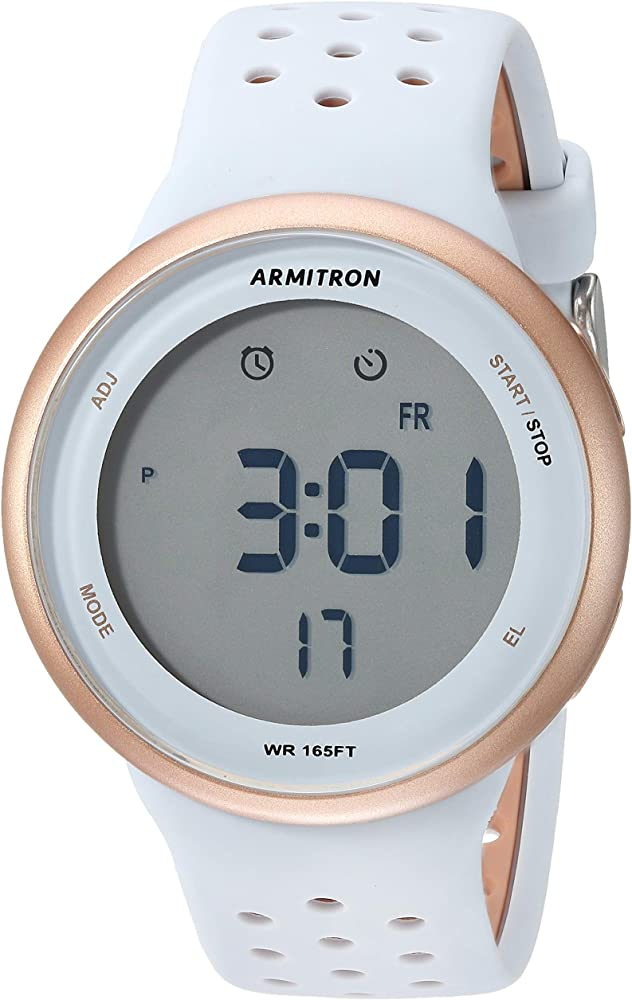 Armitron Sport Unisex 408423PBL Digital Chronograph Rose GoldTone and Powder Blue Perforated Silicone Strap Watch
