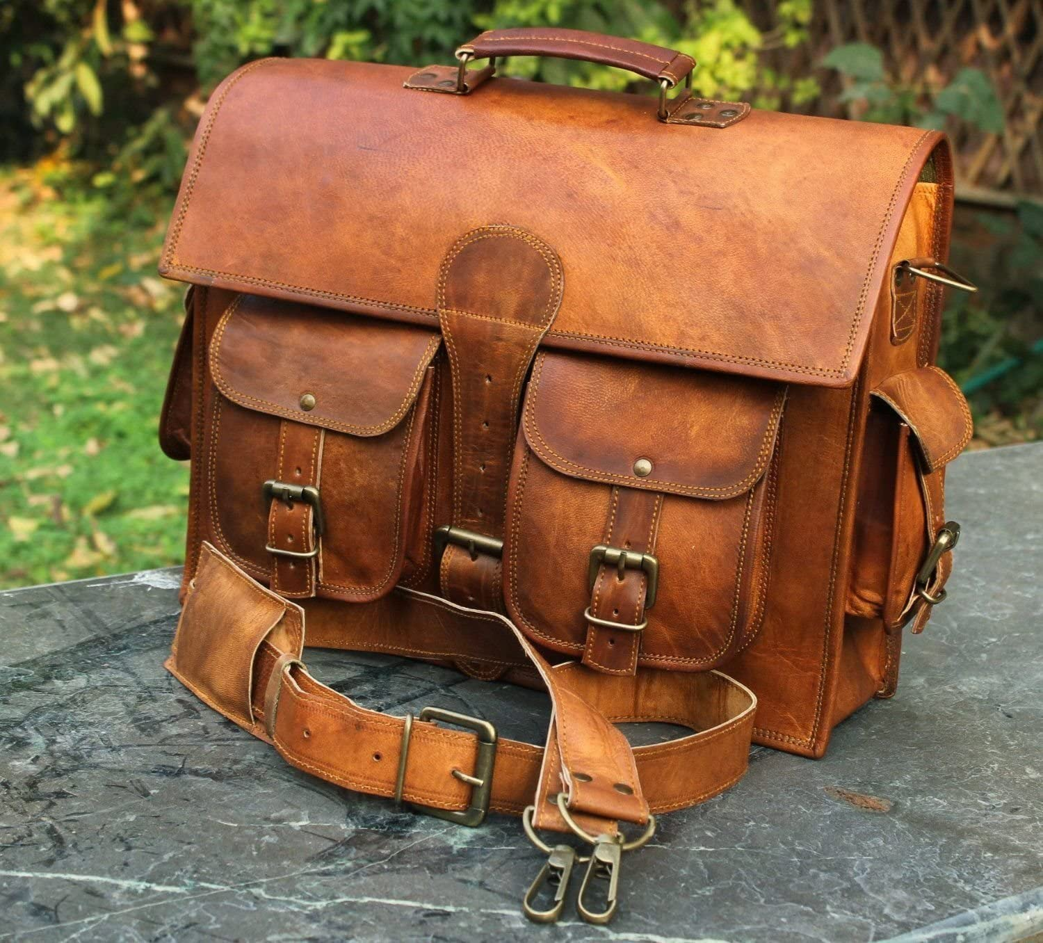 Men/'s Genuine Leather Vintage Laptop Handmade Briefcase Bag Satchel Messenger