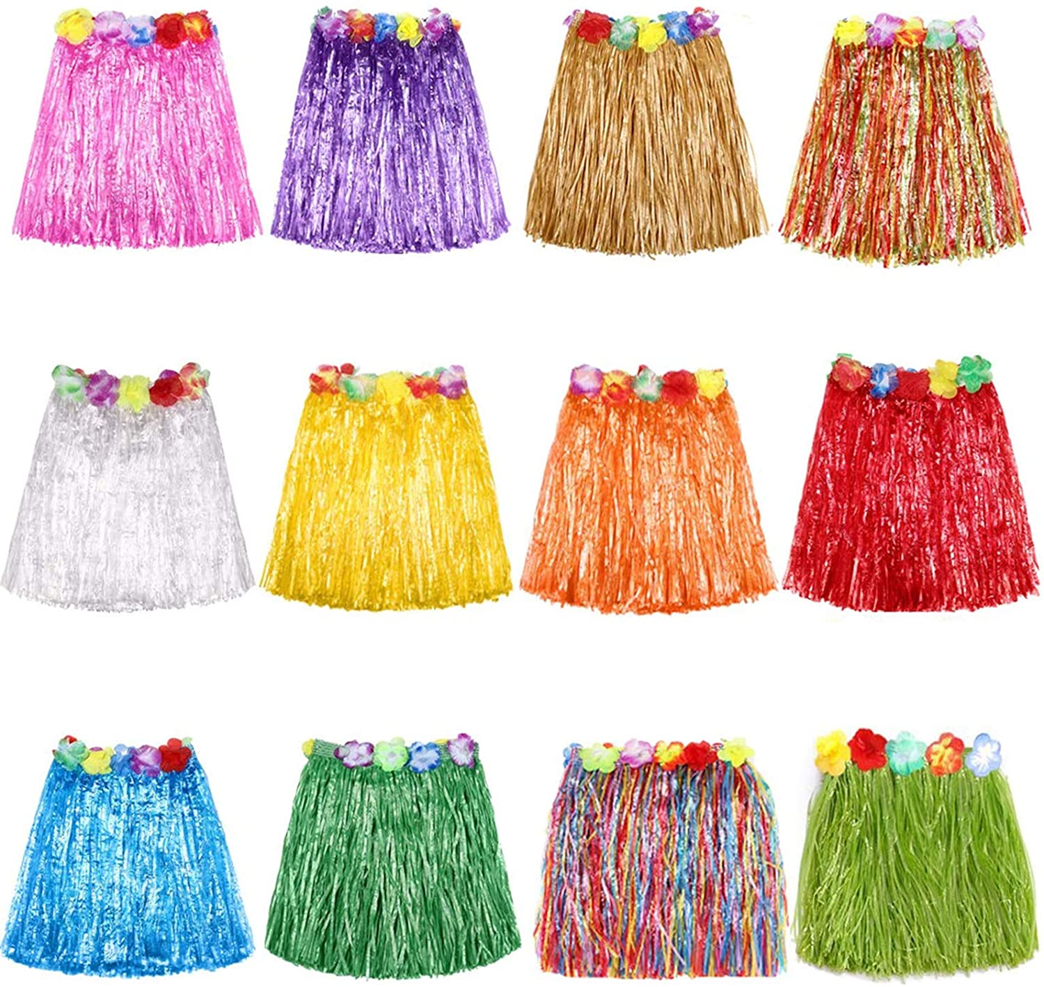 Grass Skirt Hawaiian Luau Hula Skirts Party Decorations Favors Supplies Multicolor Grass skirts for kids Elastic Hibiscus Flowers Tropical Hula Skirt for Party, Birthdays, Celebration 12 PACK
