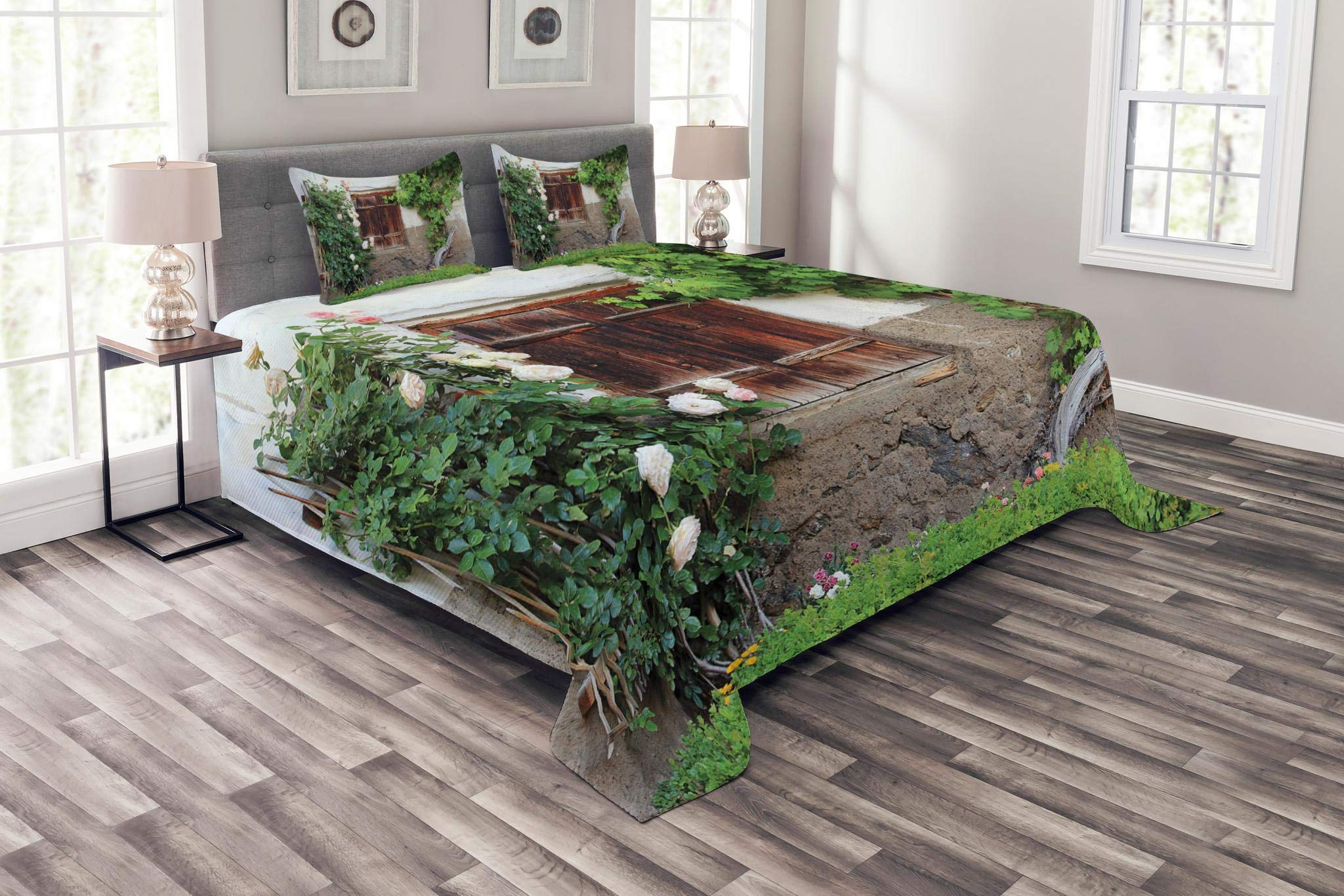 Lunarable Shutters Bedspread Set Queen Size, The Old Windows with Wooden Shutters Roses and Wine Country House Backyard, Decorative Quilted 3 Piece Coverlet Set with 2 Pillow Shams, Green White Brown