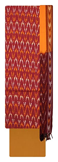 Bharathi Ikat Fabs Pure Handloom Pochampally Ikat Cotton Unstitched Dress Material (Multi-Coloured) For Women