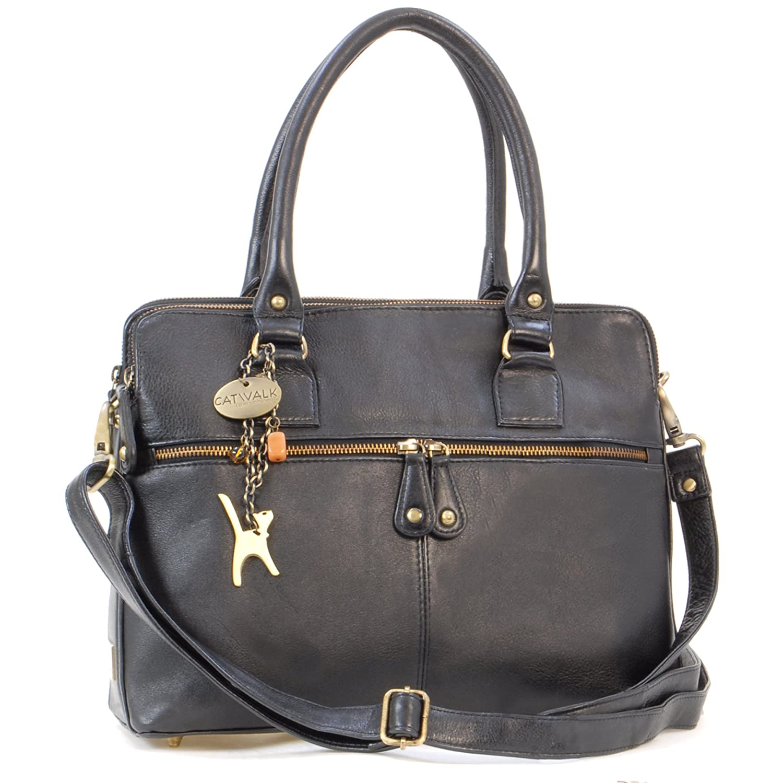 08c0782e60 Catwalk Collection Handbags - Women s Large Vintage Leather Tote - Shoulder  Bag Cross Body With Extra Detachable Adjustable Strap - VICTORIA - Black   ...