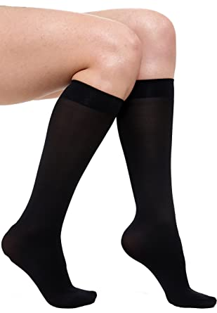 74a1160d01b 6 x PAIRS LADIES WOMENS 60 DENIER KNEE HIGH TROUSER POP SOCKS BLACK NUDE  CHEAP (