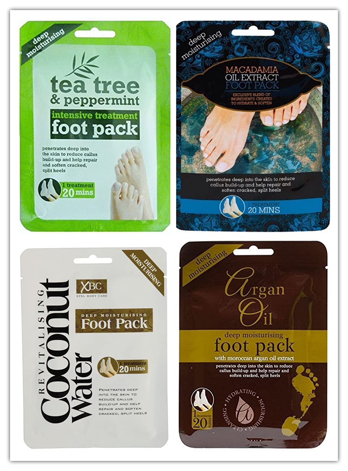 (PACK OF 4) Deep Moisturising Foot Pack Includes - (1x Macadamia Oil, 1x Argan Oil, 1x Coconut Water, 1x Tea Tree and Peppermint) Foot Pack Socks Treatment - By PAJEE ™ PAJEE TM