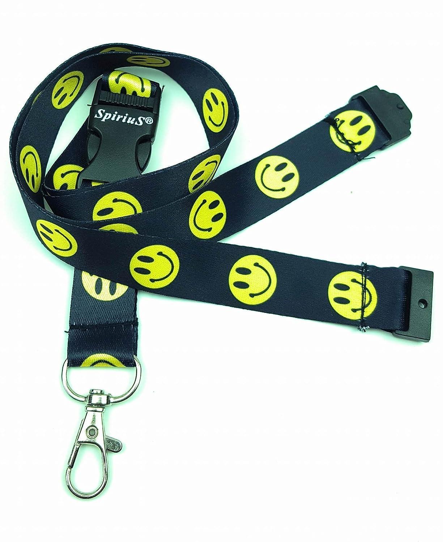 Cordino da collo con robusta clip metallica porta-badge o portachiavi Black Colourful M SpiriuS