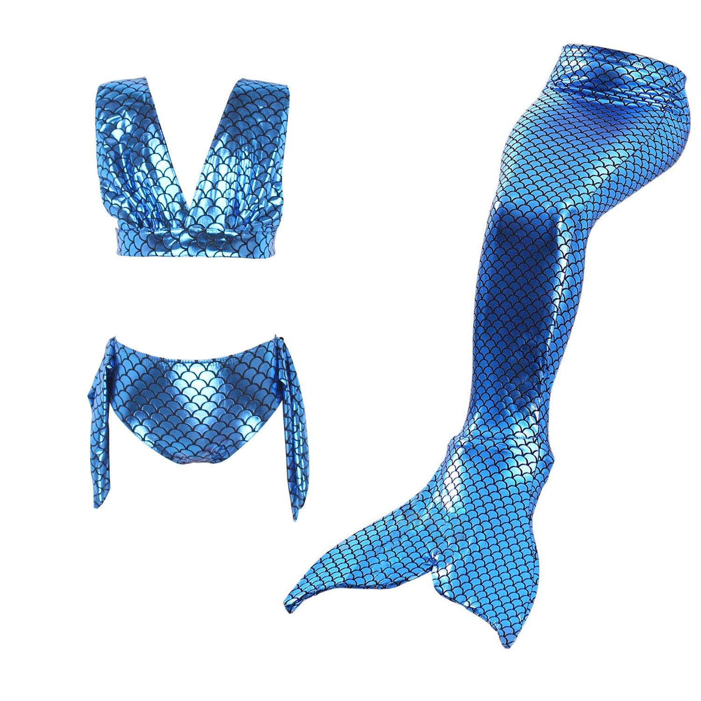 3Pcs Ragazza Sirena Costume Piccolo Sirena Coda Costume Da Bagno Ragazze Nuotare Bikini Impostato Nuoto Bambini Swimwear Bagnarsi Suit Tankini Imposta 110 - 150 Kootk B180115GMS3-K