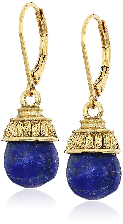 1928 Jewelry 14k Gold-Dipped Semi-Precious Lapis Drop Earrings