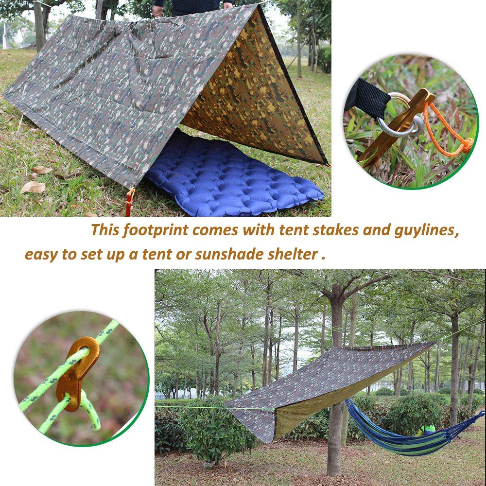 Portable Sunshade Shelter Blanket Rain Poncho for Backpack Camping Hiking Picnic Acenilen 3-in-1 Tent Tarp Footprint Includes Pegs and Ropes