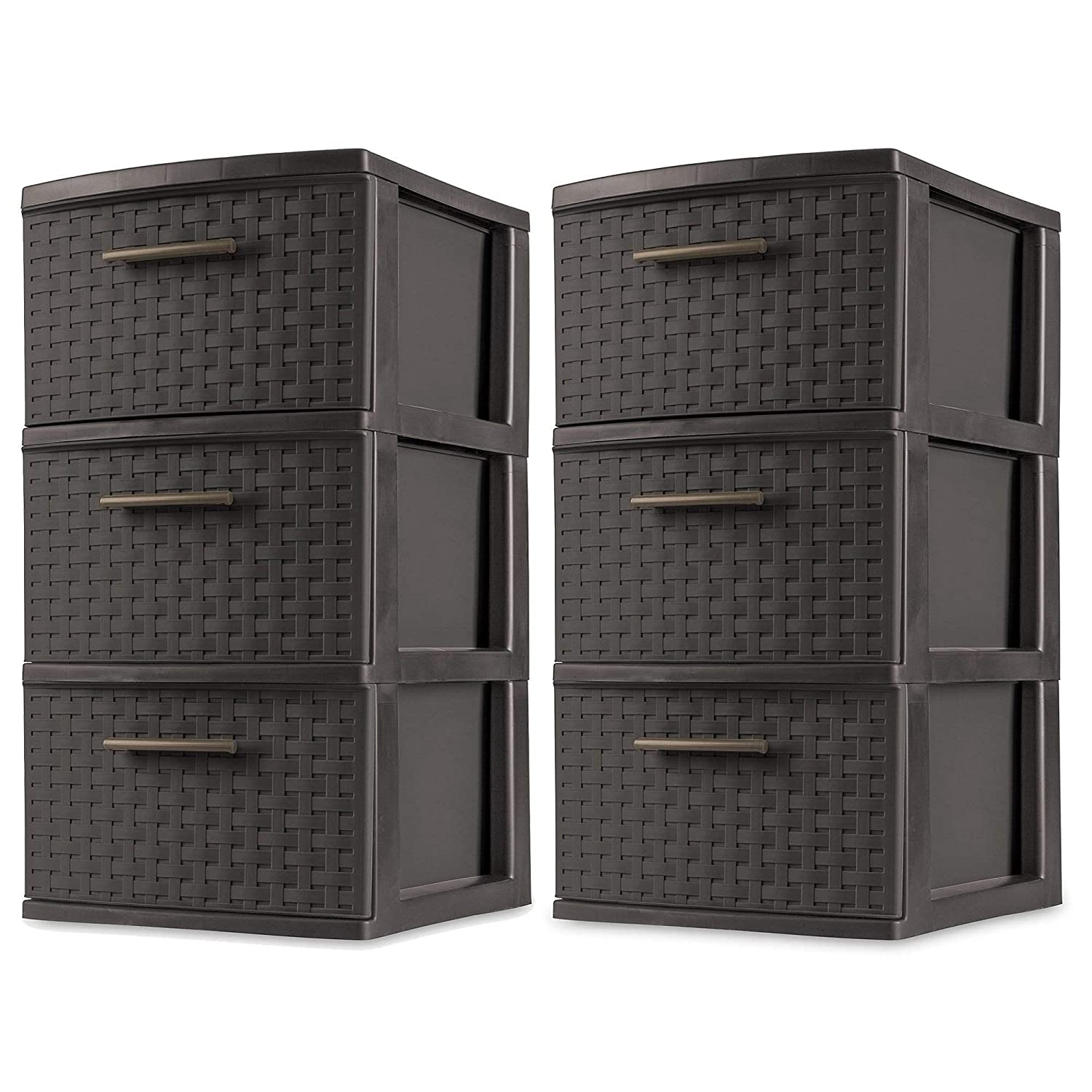 Sterilite 3 Drawer Wicker Weave Decorative Storage Tower, Espresso (2 Pack)
