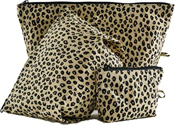 BAGGU Go Pouch Set, Expandable Nylon Zip Pouch 3 Pack for Travel and Organization, Honey Leopard