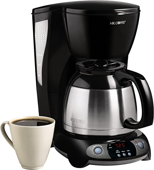 Amazon Com Mr Coffee 8 Cup Thermal Programmable Coffeemaker Black Drip Coffeemakers Kitchen Dining